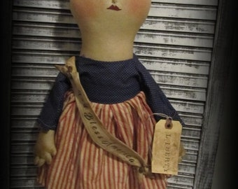Primitive Patriotic Liberty Doll~Handmade Folk Art Americana Doll Decor
