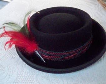 Vintage Accessory Alpine Hat Original Tirolerhut Tyrolean Hat Octoberfest Bavarian Black Hat