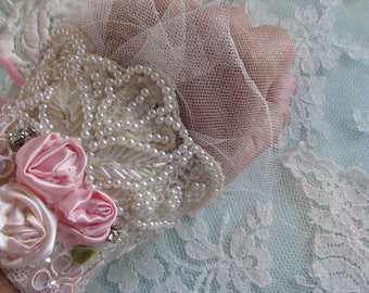 Bridal Lace Cuff, Hand Beaded Cuff, Ivory Lace Cuff, Shabby Wedding, Boho Chic Cuff, Vintage Wedding Accessories