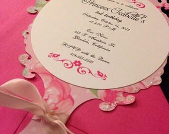 Princess Birthday Invitation -- Mirror Invitation -- Tea Party Invitation
