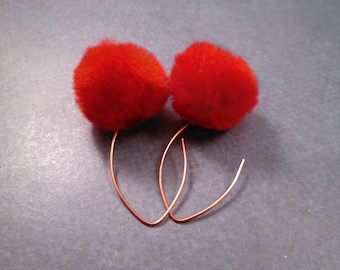 Pom Pom Earrings, Red and Rose Gold Tone, Copper Dangle Earrings, FREE Shipping U.S.