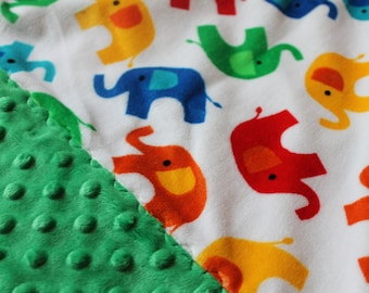 Travel Pillowcase - Multi Color Elephant Print Minky with Green Dimple Dot Minky Border - great for a Toddler or Travel Pillow