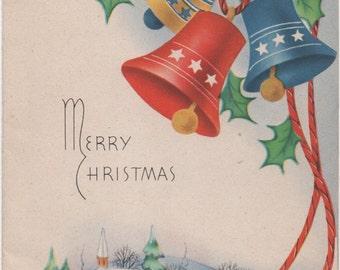 Christmas Card, c1950s, Used, good shape, Winter Scene, Bells, Holly, Vintage