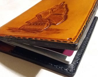 Handmade Passport Cover / Wallet - Ship and Compass