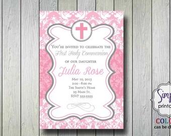 Girls Communion Invitation or Baptism Invitation Pink Damask
