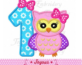 Instant Download Girl Owl Number 1 Applique Embroidery Machine Design NO:2028