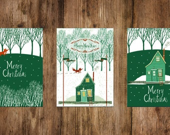 Christmas cards set 3 pieces, postcards