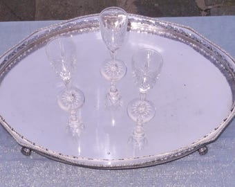 English Silver plated victorian footed serving tray.