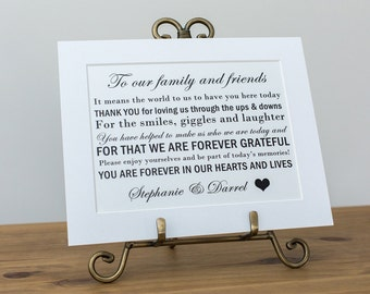 Wedding Thank you Sign, To our family and friends, Personalised wedding table sign, Wedding table decor