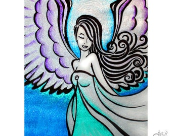 Healing Angel PRINT / Suicide Prevention Awareness / Grief / Depression Guardian Angel / Teal / Gift for Friend // 5x7 / 8x10 / 11x14