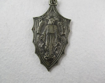 1930s Vintage Sodalis Mariae Virgin Mary Sacred Heart Jesus Large Medal,Our Lady of Grace Art Deco Medal,Sacred Heart of Jesus Antique Medal