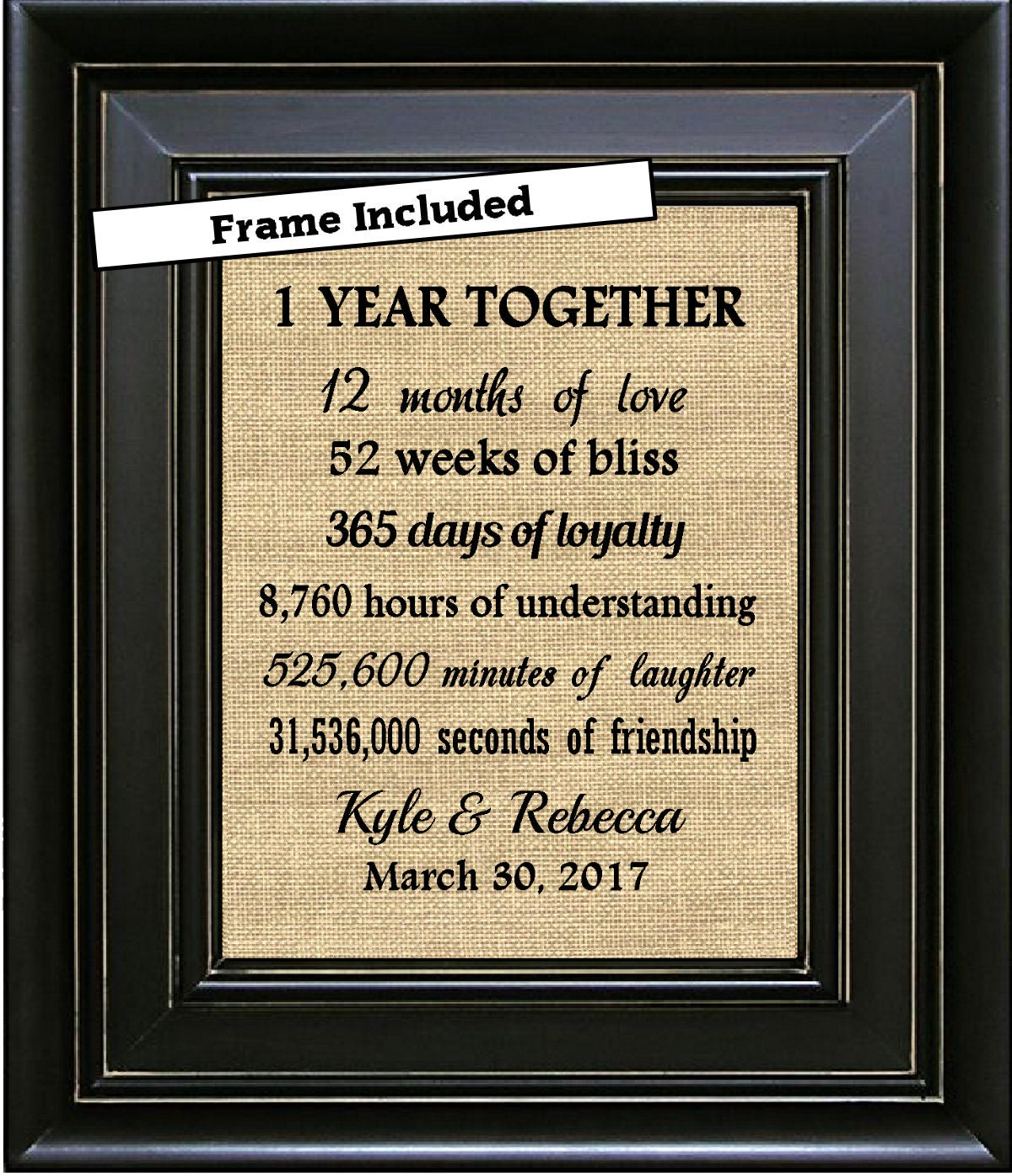 FRAMED 1 Year Together 1st Anniversary Gift 1 year Anniversary