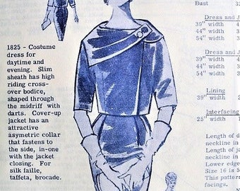 60s ATTRACTIVE Jacket with Asymmetrical Collar and Slim Dress Modes Royale 1825 Bust 34 Vintage Sewing Pattern