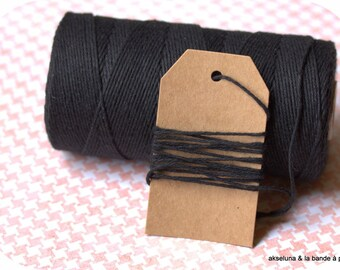 Twine Black solide Baker's twine 10m black string, coton twine