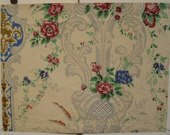 Antique Beautiful  18th C. French Floral Wallpaper (9009)
