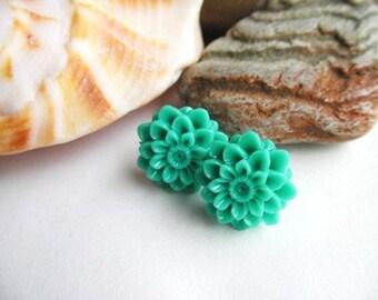 Turquoise Dahlias Earrings, Blue Dahlia Earrings, Turquoise Flower Earrings, Post, Dangle Earrings, Set, Blue Flower Earrings