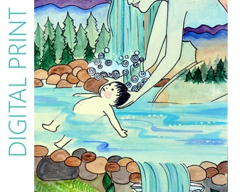 """DIGITAL """"Baptism"""" print/poster /Birth Art/ Pregnancy Art/ midwife/ doula/ gift for new mom"""