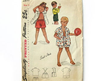 Vintage Sewing Pattern / Child Playsuit Pattern /  Kids' Shorts Pattern / Simplicity 2891 / 1940s Sewing Pattern / Beach Coat / Size 4