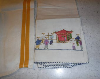 Collection of 3 linen embroidered kitchen towels
