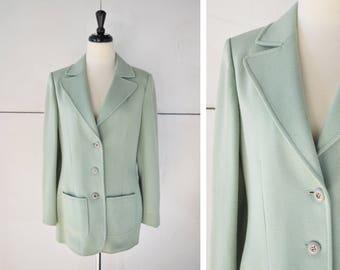 70s (M/L) mint green blazer   vintage womens jacket   1970s womens clothing