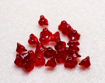 Preciosa Ruby Flower Cups- premium Czech glass beads