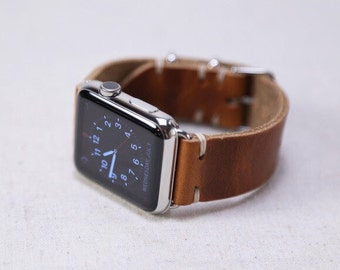 Leather Apple Watch Strap   38mm 42mm Apple Watch Band   iWatch Series 1 Series 2 Series 3   Horween English Tan Leather   Metal Slides