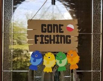 Gone Fishing Door Sign... Big One... Ohfishally One... First Birthday... Baby Boy