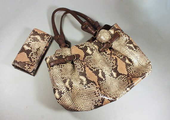 Python Style Tote Bag, Jessica Simpson, Matching Wallet, Designer Handbag, Large Tote, Brown, Textured, Faux Snakeskin