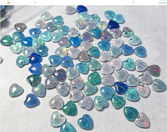 SALE AAA Australian Opal Cabochon Heart 8mm, QTY 1,  Your Choice Blue Green Red Opal Triplet Cabochon