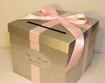 Wedding Card Box Silver and Baby Pink Gift Card Box Money Box  Holder--Customize in your color(10x10x9) --custom made