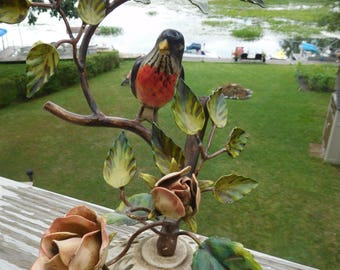 Vintage Toleware Bird on a Branch with Roses