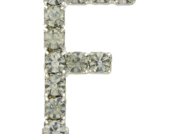 Silver Tone Rhinestone Initial Pin Brooch Letter N F I 1970-80s