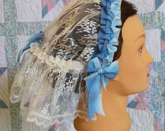Cream Lace Fanchon Styled Day Cap withTwo-tone Blue Ribbon