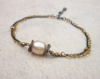 Pearl bracelet, black silver and gold filled chain bracelet, oxidized silver dainty bracelet, stack bracelet, minimal modern jewelry