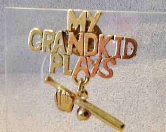 Pin Brooch My Grandkid Tie Tac Baseball  CL671B