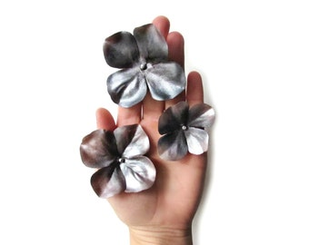 Flower Hair Pins, Metallic Silver Flower Hair Clip, Hydrangea Hair Pin, Fabric Flowers, Charcoal Gray Hair Flower Bobby Pin Set of Three