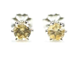 Yellow Citrine Stud Earrings Silver Citrine Earrings November Birthstone Earrings 4MM 6MM Citrine Jewelry Citrine Post Earrings 925 Sterling