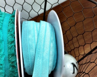 """Color Coordinated Elastic Trims in Teal or Hot Pink 5/8"""" Wide Stretch Elastic Sold in 2 or 5 Yard increments"""