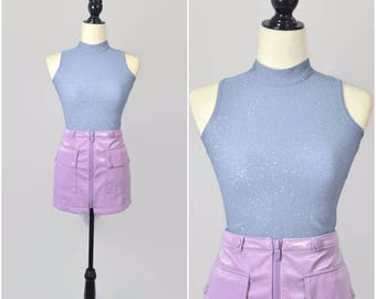 Vintage 90s Blue Sparkle Crop Top Mock Neck Collar XS Small Shiny Silver Sleeveless Pastel Stretch Rave Club-Kid Cyber