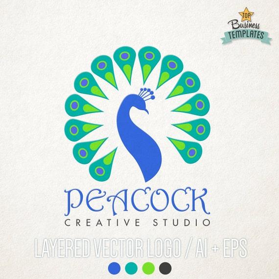 peacock vector logo hand drawn logo logo template premade