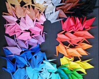 Origami cranes - paper cranes - Handmade - 100 Large paper cranes in 20 colors - Wedding backdrops, place cards, invitations, decorations