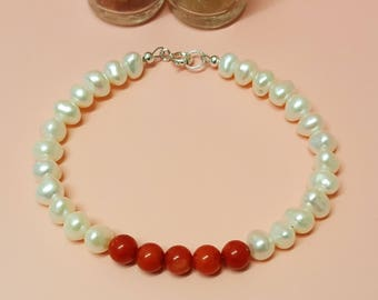 White Pearl and Red Coral Bracelet, Sterling Silver Bracelet, Pearl Jewellery, Coral Jewelry, Natural Pearls, White Pearls, Red Coral