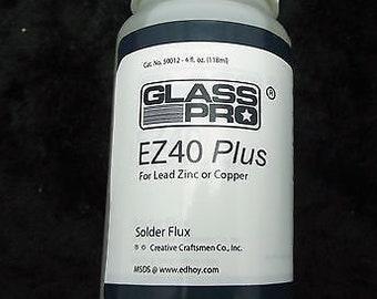 EZ40 PLUS Safer Solder Flux 4 oz Stained Glass Supplies Liquid Zinc Lead Copper