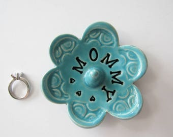 Mommy ring dish - Gift for Mom - Keepsake Ring Dish -  Glazed in sea isle turquoise - Gift box included