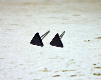 Tiny Black Triangle Stud Earrings, Dainty Earrings - 5mm