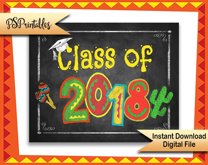 Fiesta Graduation Decor | PRINTABLE Class of 2018 Graduation Sign, Graduation Party Decorations, 2018 Graduate sign, 2018 Graduation Fiesta