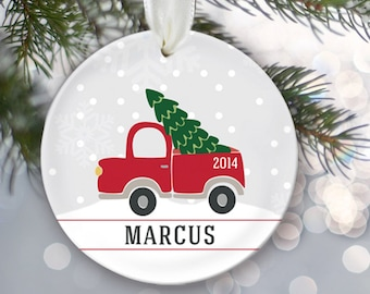 Personalized Christmas Ornament Custom Gift Getting the tree Christmas tree Personalized Gift Keepsake Ornament Gift for him boy child OR107