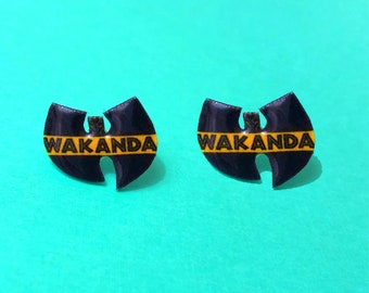 "Superhero Collection ""Wutang Wakanda"" Black Panther Wutang Clan Inspired Earrings"