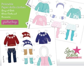 Stacy and Stella - Winter paper doll clothes and accessories collections