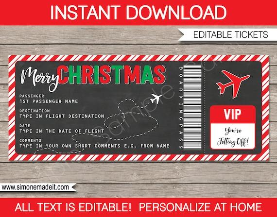Christmas Gift Boarding Pass Ticket Surprise Flight